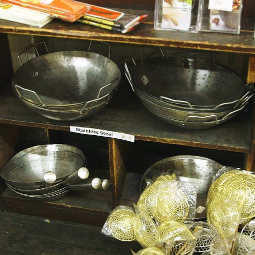 woks-on-shelf